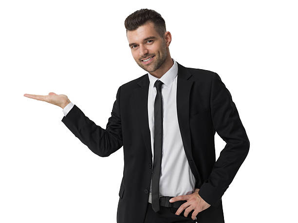 Businessman presenting new product  isolated portrait Businessman presenting new product portrait isolated on white background spokesperson stock pictures, royalty-free photos & images