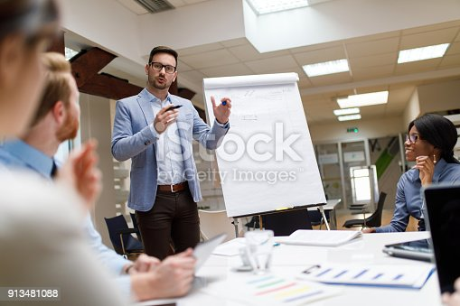 istock Businessman presenting new project to partners in the office 913481088