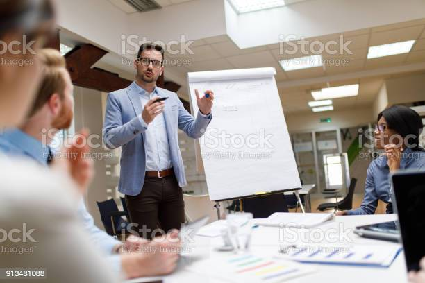 Businessman presenting new project to partners in the office picture id913481088?b=1&k=6&m=913481088&s=612x612&h=ivtotsk cx9mou4njpjs42ir44efra 4pcuwl1gix3q=