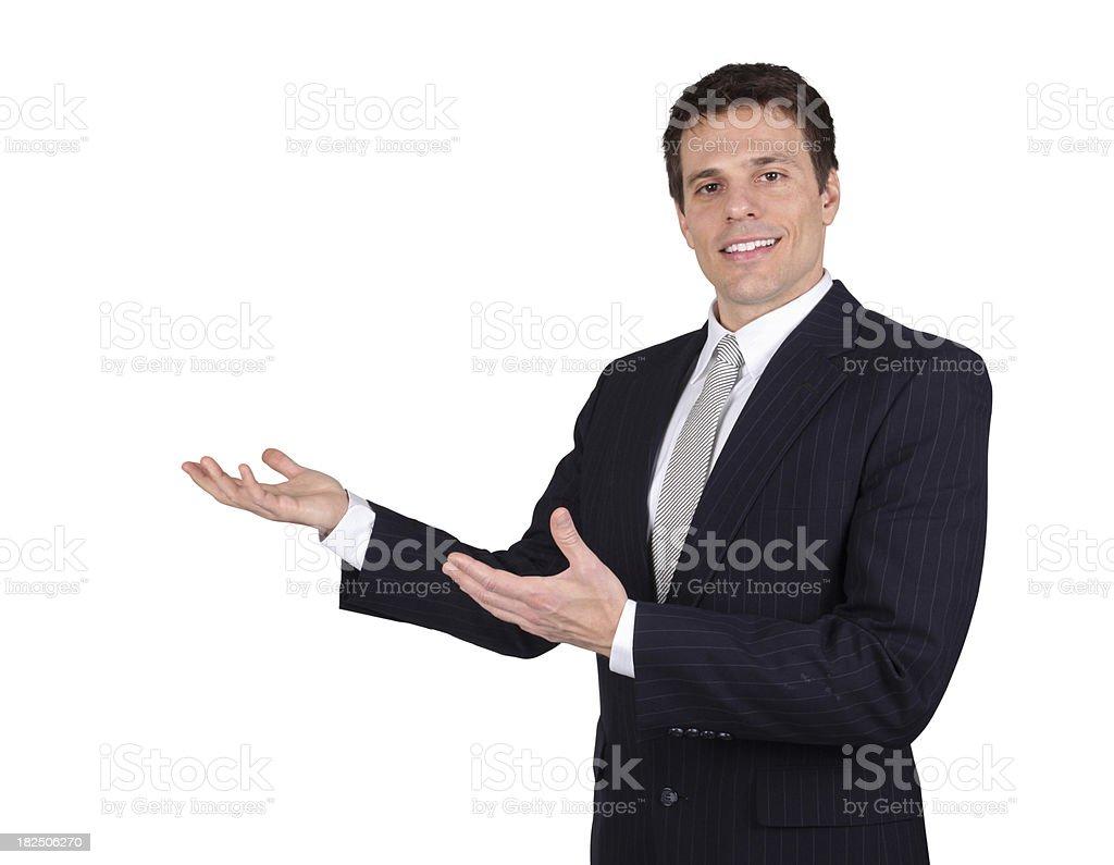Businessman presenting royalty-free stock photo