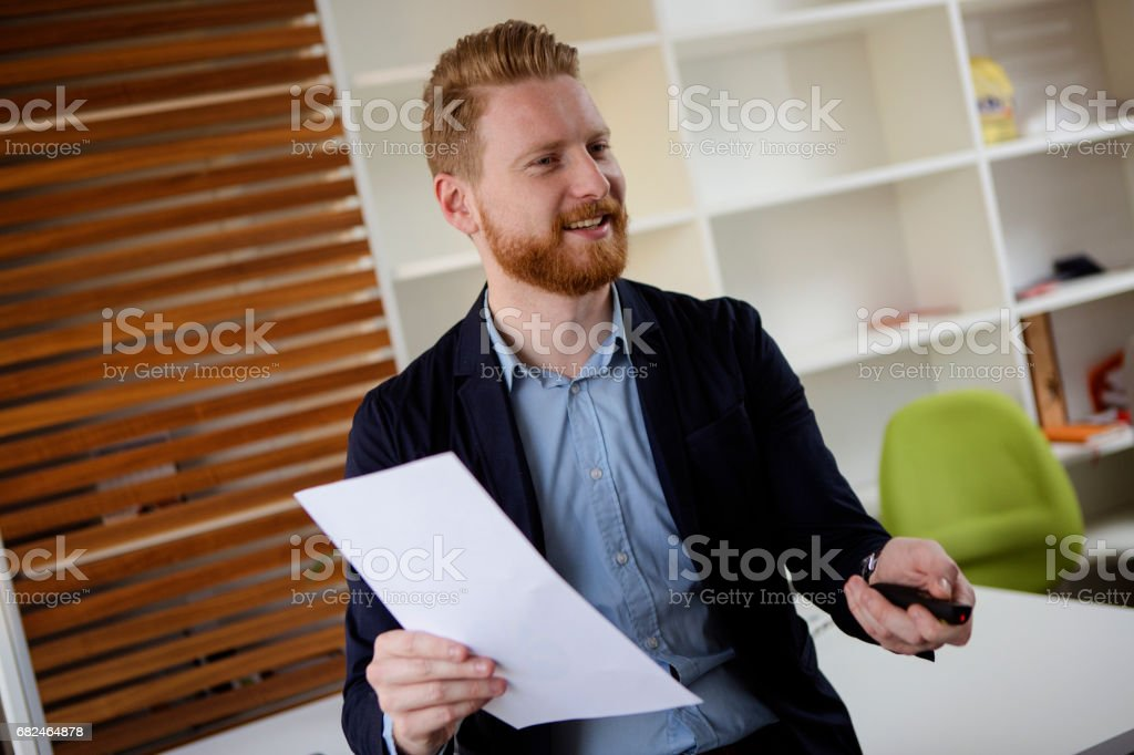 Businessman presenting results royalty-free stock photo