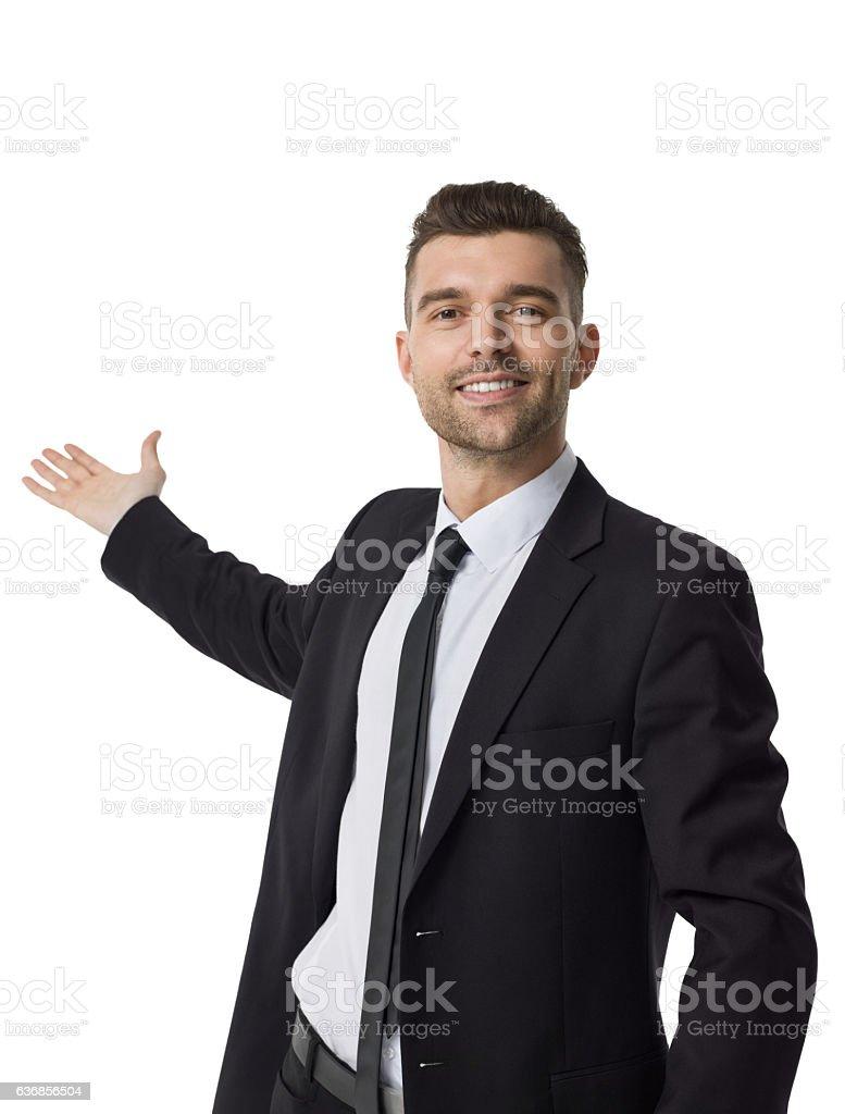 Businessman presenting something Closeup stock photo