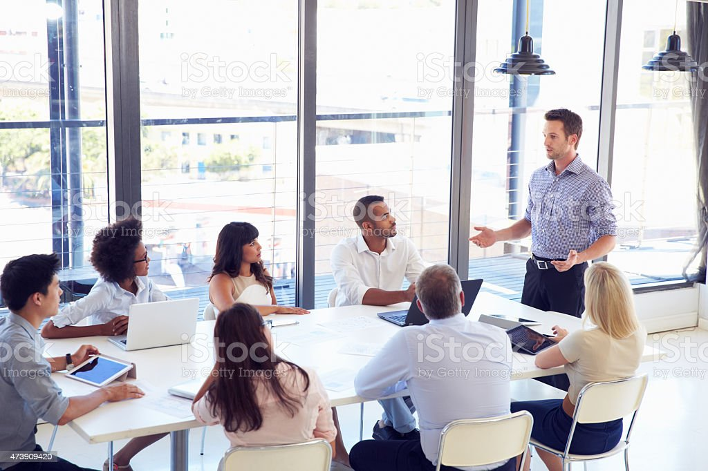 Businessman presenting to sitting colleagues at a meeting stock photo