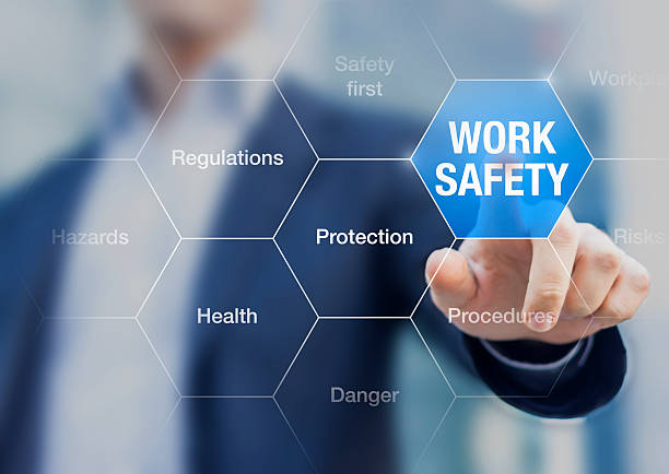 Businessman presenting work safety concept, hazards, protections, health and regulations Businessman presenting work safety concept, hazards, protections, health and regulations medical procedure stock pictures, royalty-free photos & images