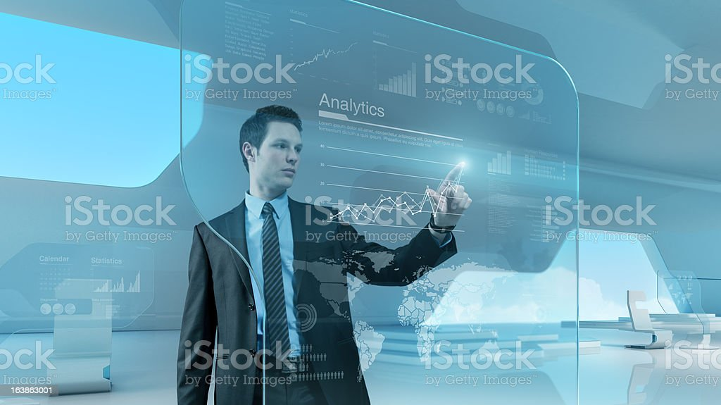Businessman press graph future technology touchscreen interface royalty-free stock photo