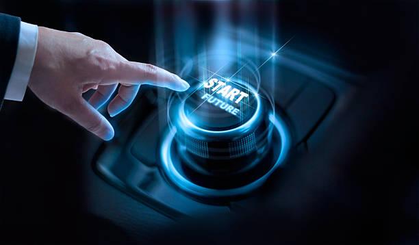 Businessman press start future button with virtual light dark background – Foto