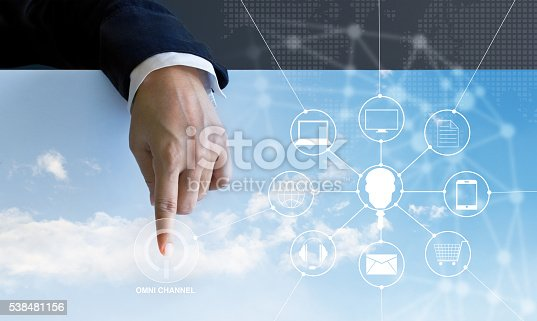 istock Businessman press the button power omni channel and icon custom 538481156