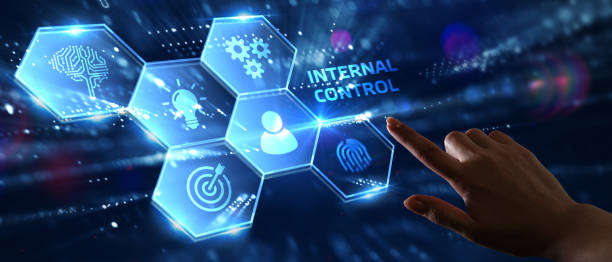 Businessman presses button internal control on virtual screens. Business, Technology, Internet and network concept. stock photo