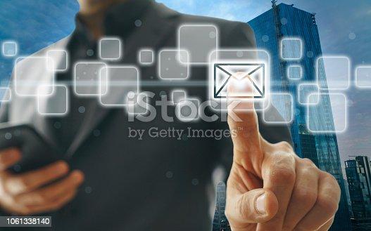 Businessman Pressing envelope icon