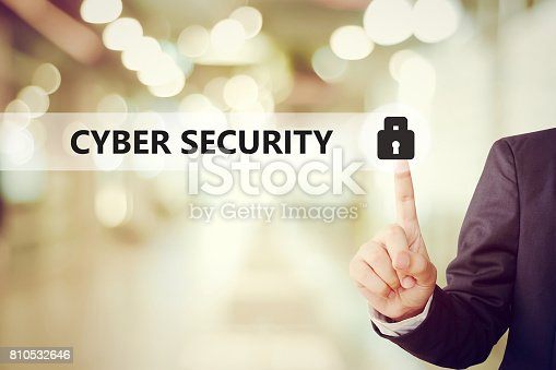 istock Businessman pressing key icon over blur background, cyber security concept, business and technology 810532646