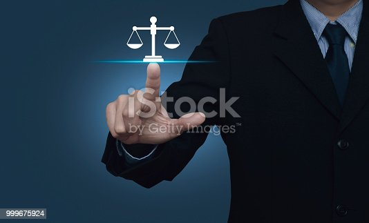 istock Businessman pressing law flat icon over gradient light blue background, Business legal service concept 999675924