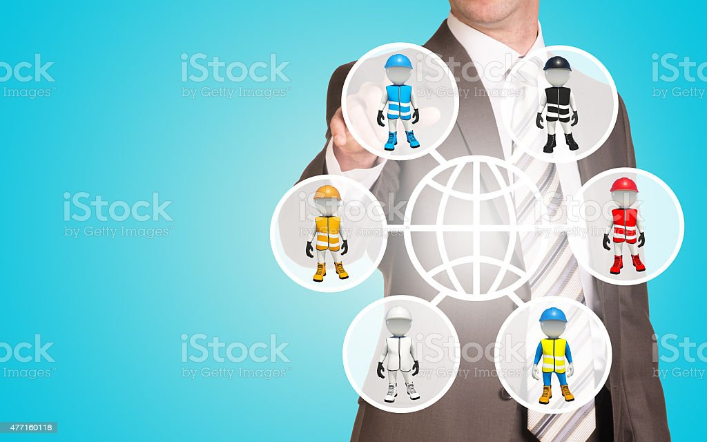 Businessman pressing on holographic screen stock photo