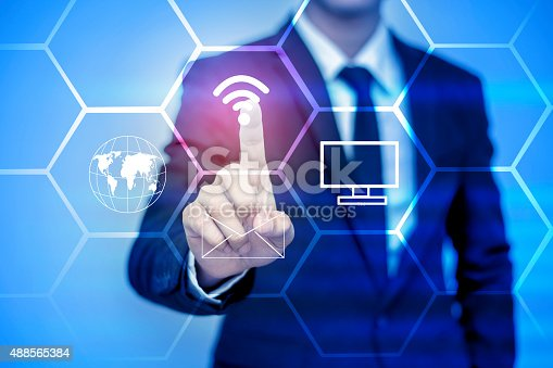 istock businessman pressing support button on virtual screen. 488565384