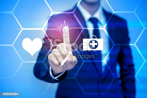 businessman pressing support button on vitual screenbusinessman pressing support button on virtual screen