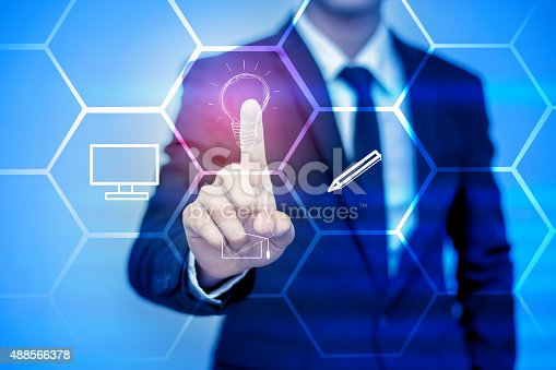 istock businessman pressing support button on virtual screen. 488566378
