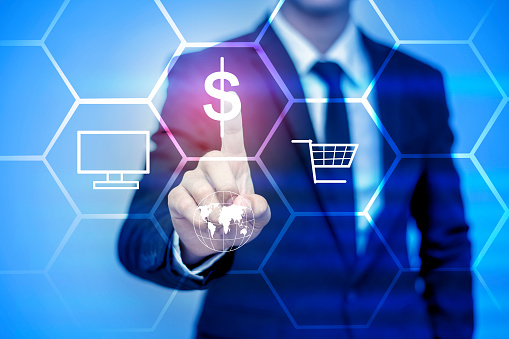 917493152 istock photo businessman pressing support button on virtual screen. 488566710