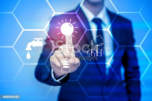 istock businessman pressing support button on virtual screen. 488568490