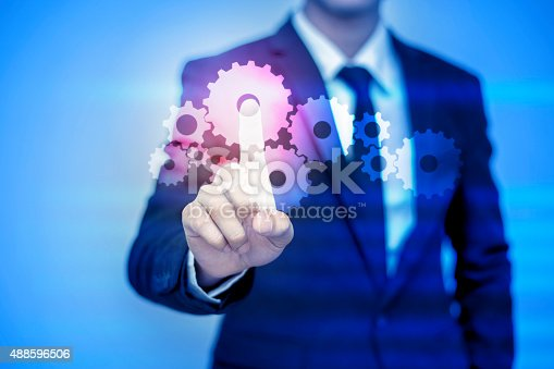 istock businessman pressing support button on virtual screen. 488596506
