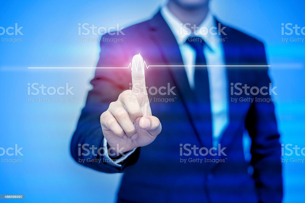 businessman pressing support button on virtual screen. stock photo