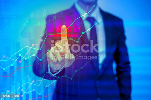 businessman pressing support button on virtual screenbusinessman pressing support button on virtual screen