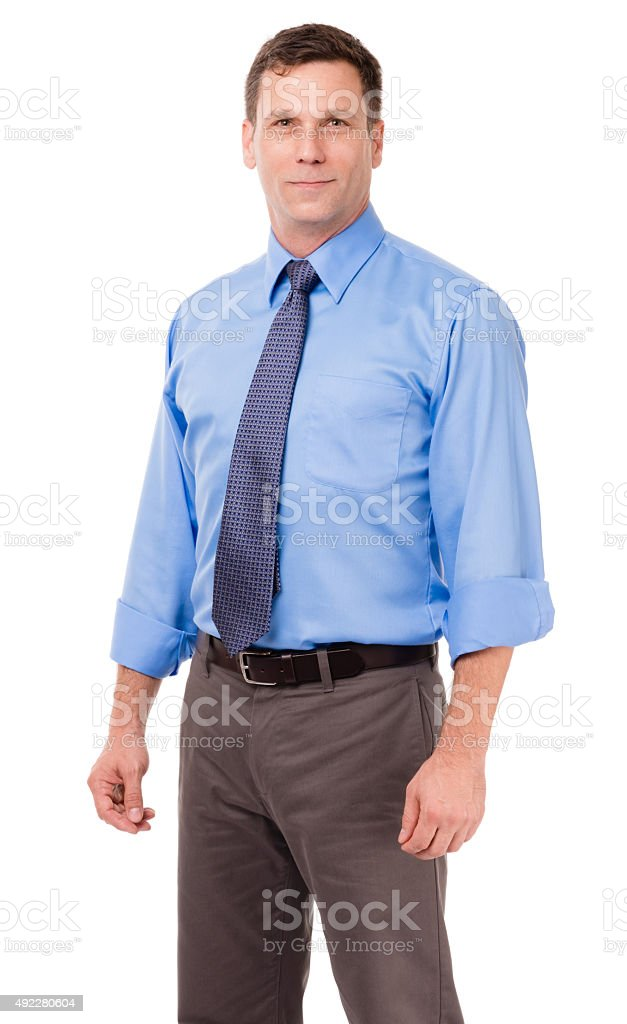 Businessman Professor with arms at sides on White stock photo