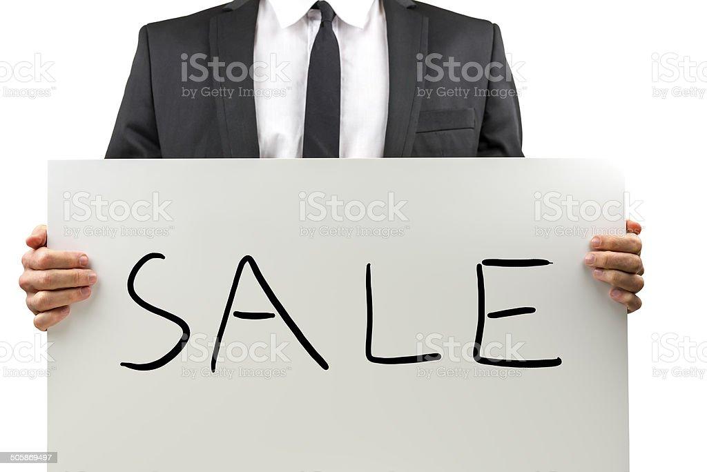 Businessman promoting a Sale stock photo