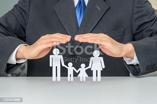 Family life insurance, financial security concept