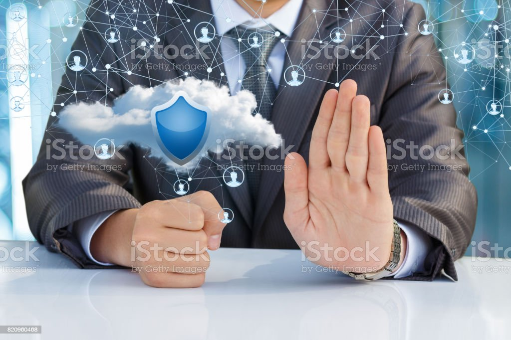 Businessman protects the network sitting in the office. royalty-free stock photo