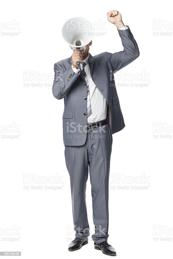 Businessman Protesting - Isolated royalty-free stock photo