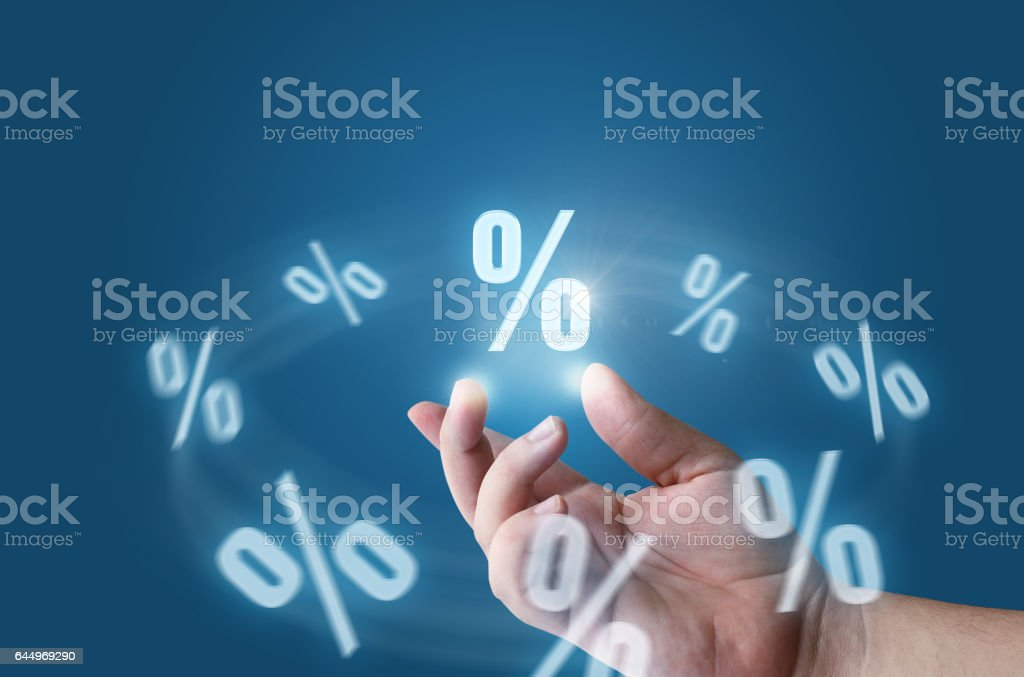 Businessman provides discounts. stock photo