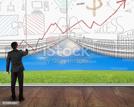 businessman pull open business doodles curtain discovered natural sky meadow on wood floor. Doodles in this image was created via Photoshop cc by me.