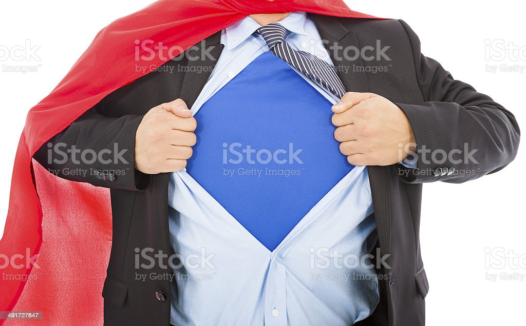 Businessman pulling his t-shirt open on a  white royalty-free stock photo