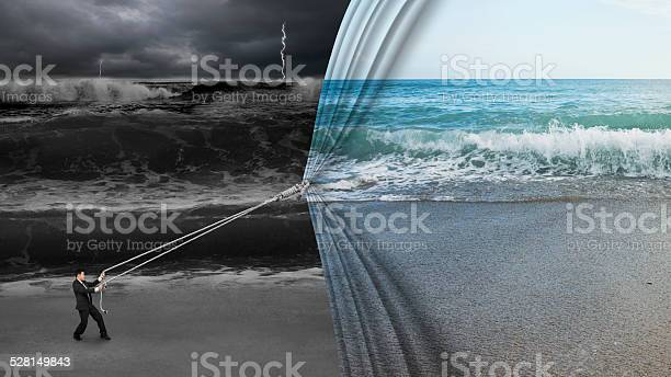 Photo of businessman pulling open calm sea curtain covered dark stormy oc