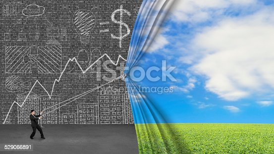 Businessman pulling open natural landscape curtain covering infographic doodles on old dark brick wall with gray concrete floor. Doodles in this image was created via Photoshop cc by me.