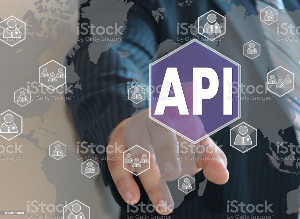 Businessman pushes a button API, Application Programming Interface on the touch screen - fotografia de stock
