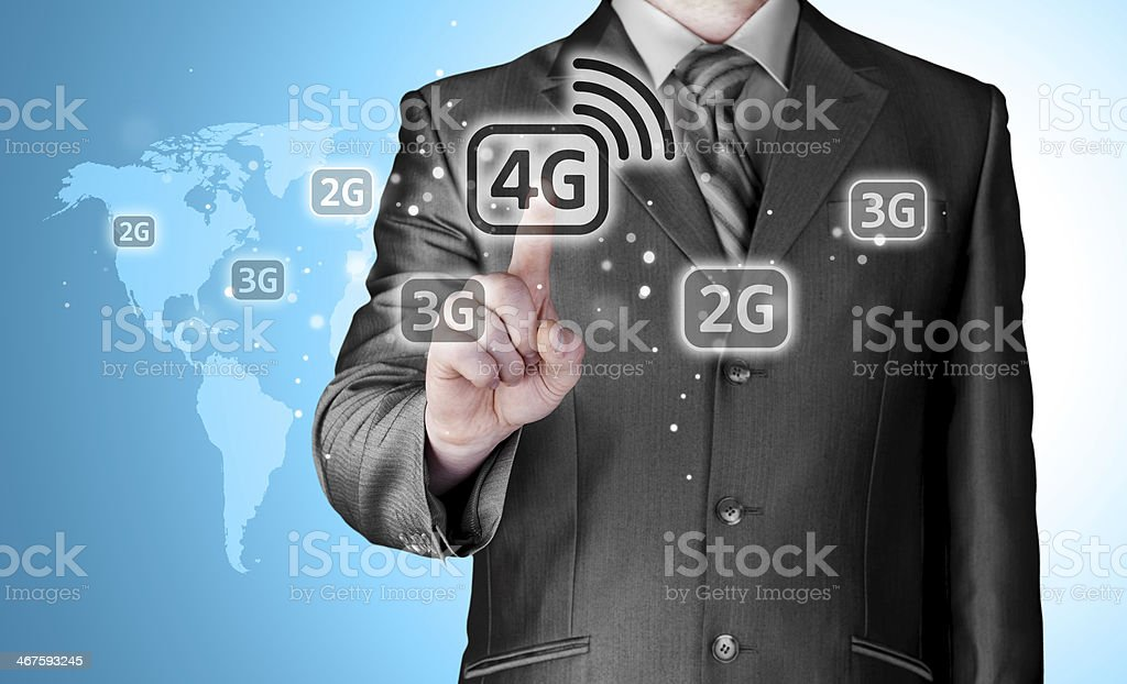 Businessman pushing 4g stock photo