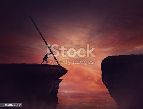 Businessman pushing a long beam, creating an improvised bridge to cross the abyss obstacle. Cover the gap and reach other side of the cliff. Mission accomplishment, overcome and success concept.