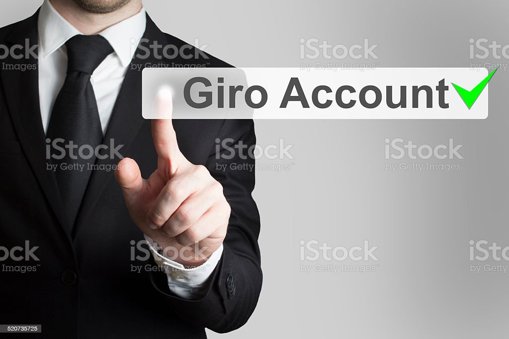 businessman pushing flat button gira account stock photo