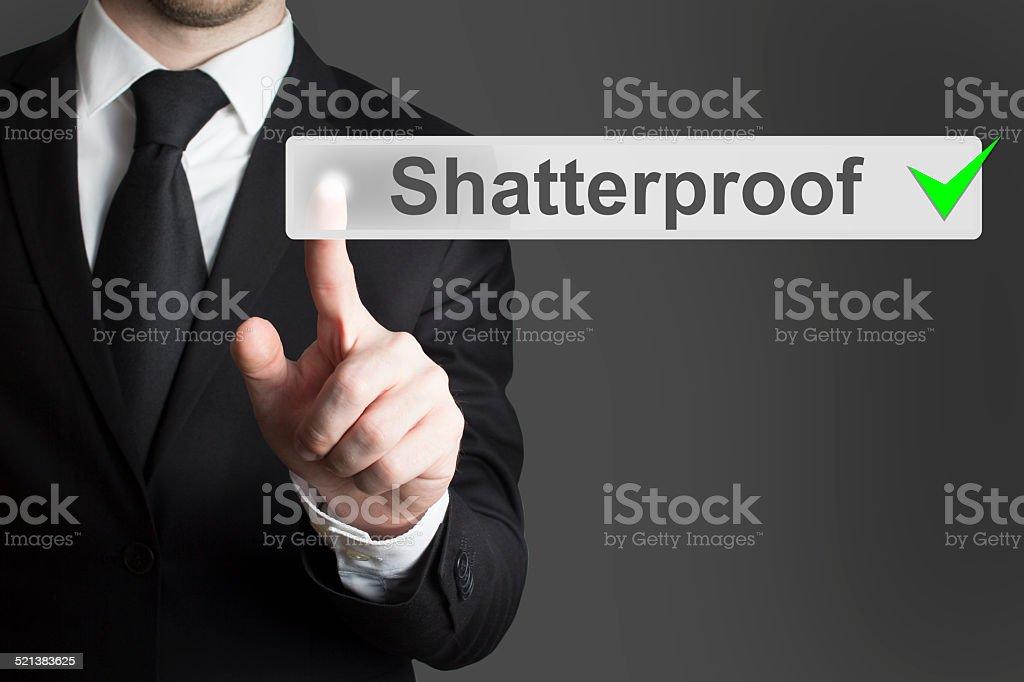 businessman pushing flat touchscreen button shatterproof stock photo