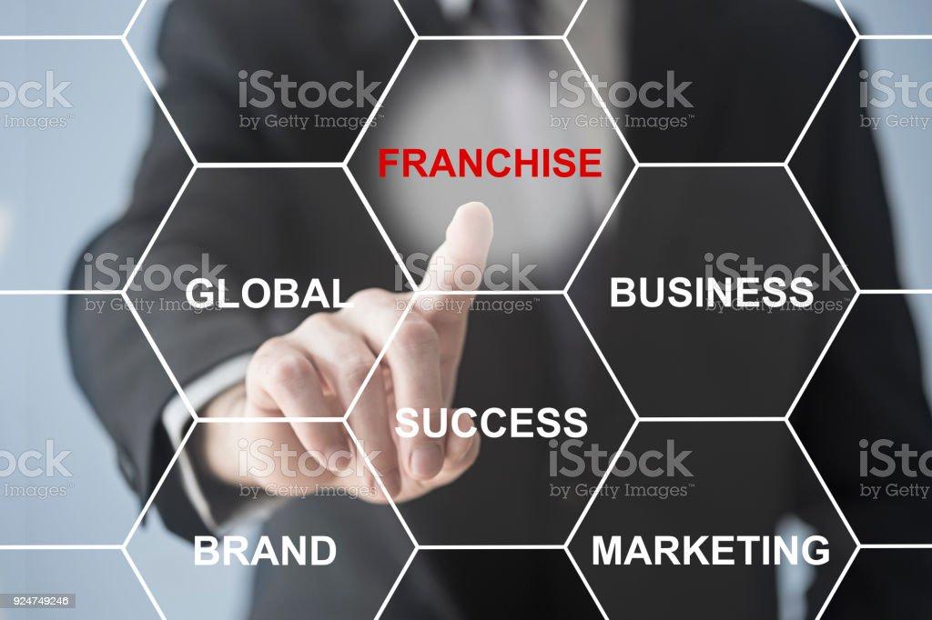 Businessman pushing franchise button stock photo