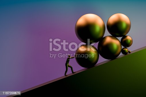 3d rendering of a strong man pushing a big rock up the hill to reach the goal on top.