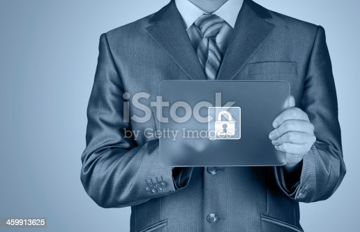 896596886 istock photo Businessman pushing virtual security button 459913625