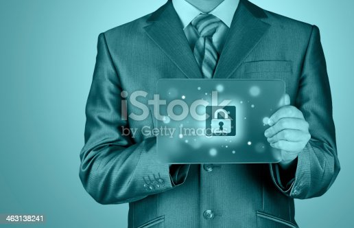 896596886 istock photo Businessman pushing virtual security button 463138241