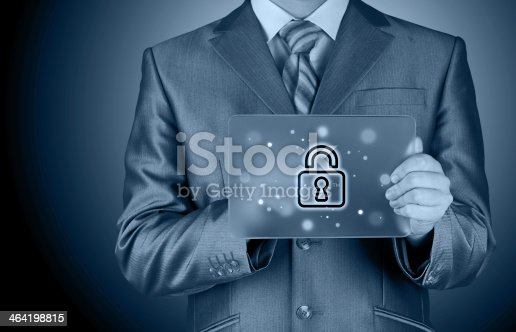 896596886 istock photo Businessman pushing virtual security button 464198815