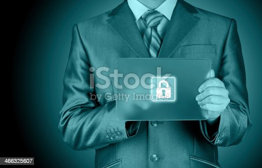 896596886 istock photo Businessman pushing virtual security button 466325607