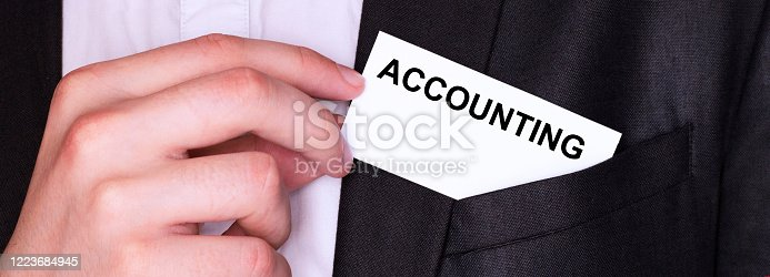 istock Businessman put card with text ACCOUNITNG in pocket. Business concept. 1223684945