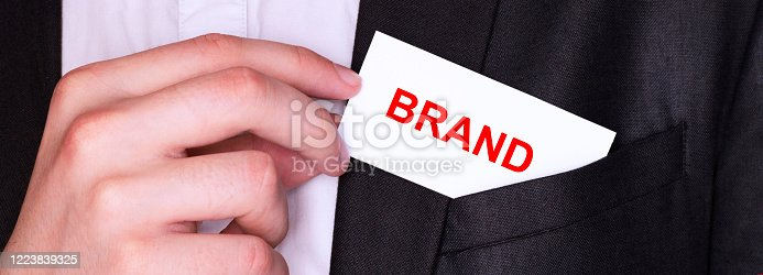 istock Businessman put card with text BRAND in pocket. Business concept. 1223839325