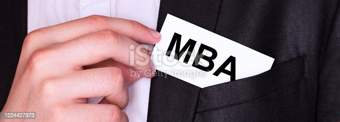 istock Businessman put card with text MBA in pocket. Business concept. 1224427373