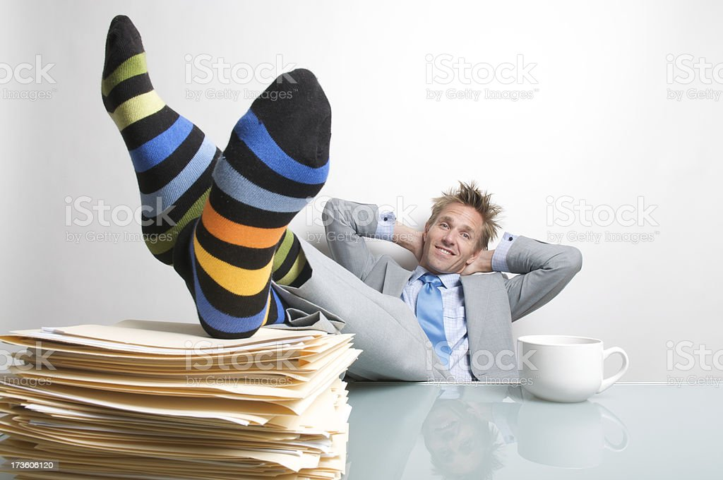 Businessman Puts His Feet Up royalty-free stock photo