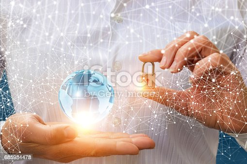 istock Businessman puts protection for the network. 685984478